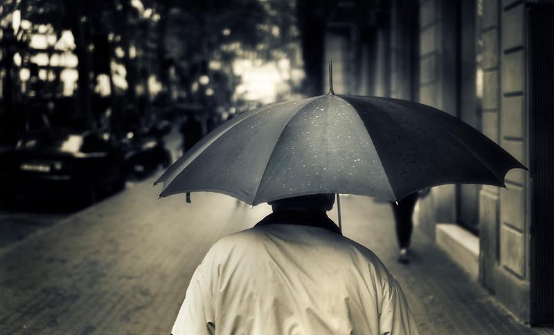 Walking in the Rain in Barcelona