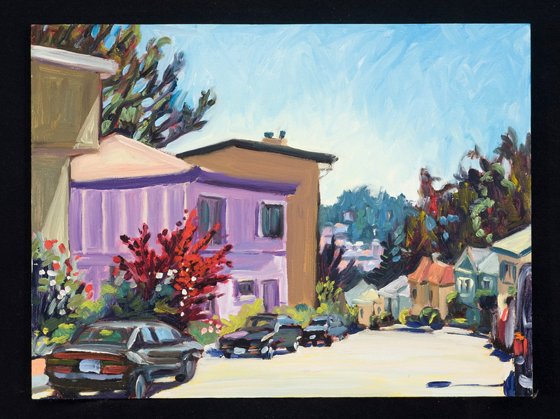 "San Francisco, purple house, 2005, 9x12"", oil on panel"