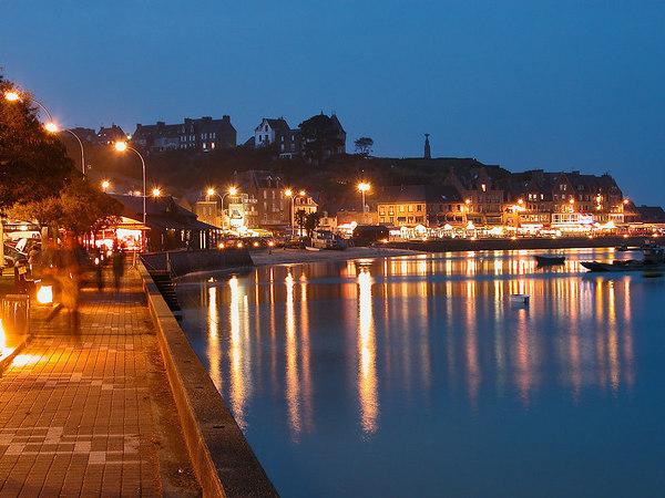 Cancale harbour at night, France.