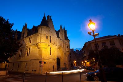 Hotel de Sens after sunset, Paris, France.