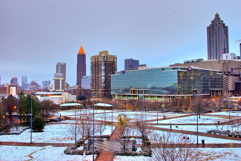 View of Atlanta skyline over Centennial Park from the Chamber of Commerce