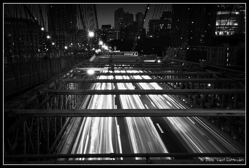 On the Brooklyn Bridge at Night