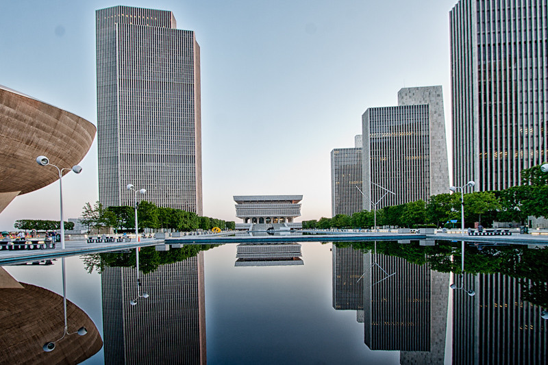 The Empire State Plaza at Sunset.