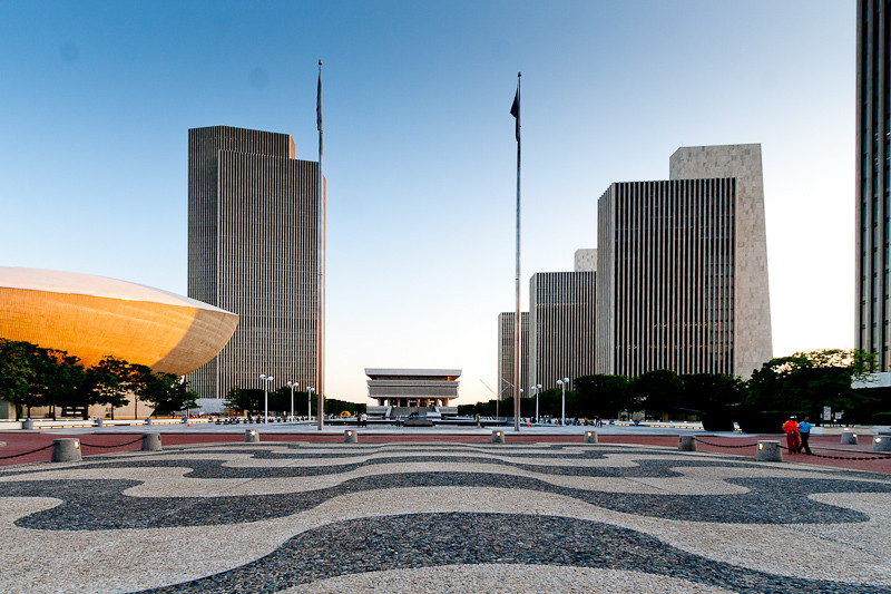 Empire State Plaza at Sunset.