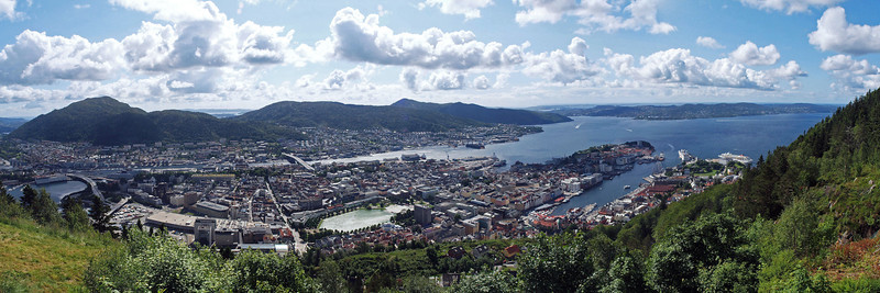 Bergen is the second largest city in Norway.  This panorama of downtown Bergen was taken from the top of Mount Floyen.
