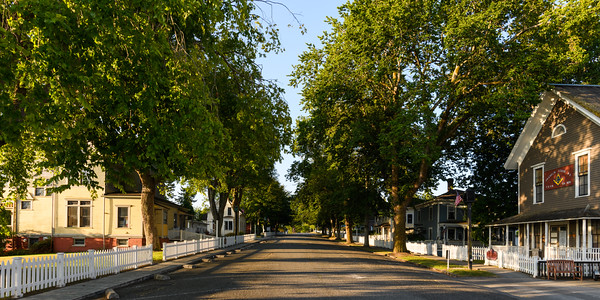 View along North Rainier Avenue in Port Gamble on a summer morning
