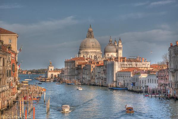 The Grand Canal from Ponte dell' Accademia. In the distance Santa Maria della Salute.