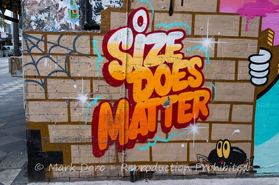 Size does matter.  Wall detail, St Kilda, Victoria