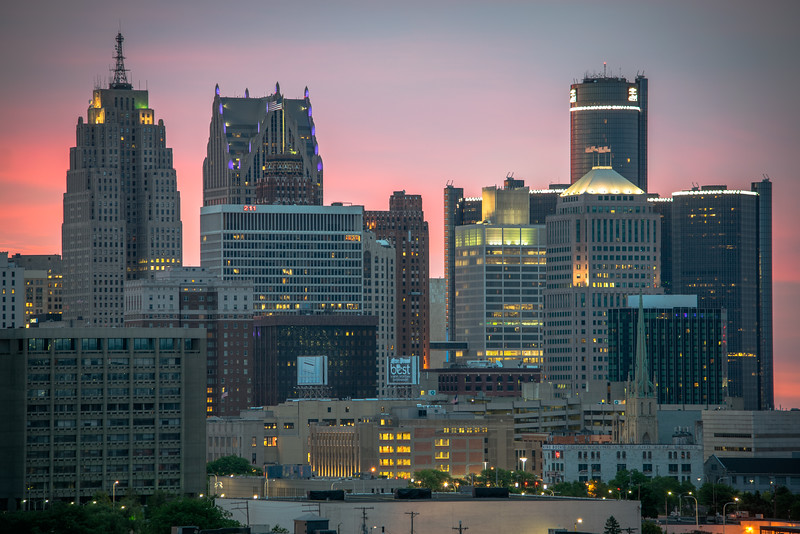 Detroit Skyline At Sunrise