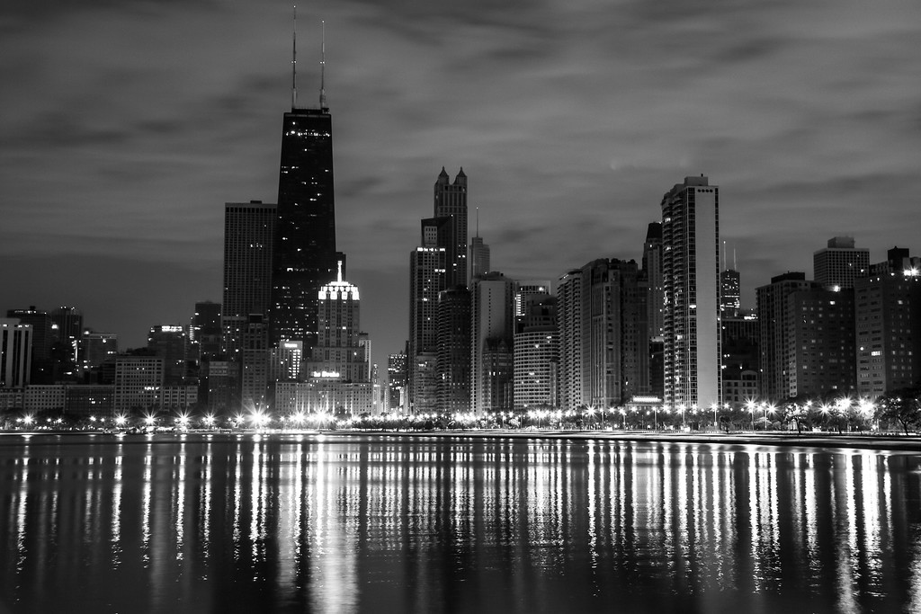 """Chicago night skyline"""