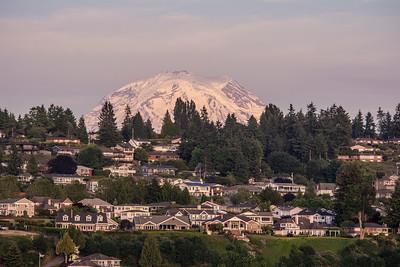 Mount Rainier towers over the University Place neighborhood in Washington