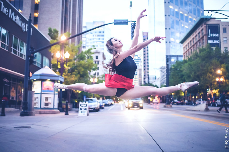 Ballerina dancing in the streets of downtown SLC.  Boise Photographer Mike Reid.