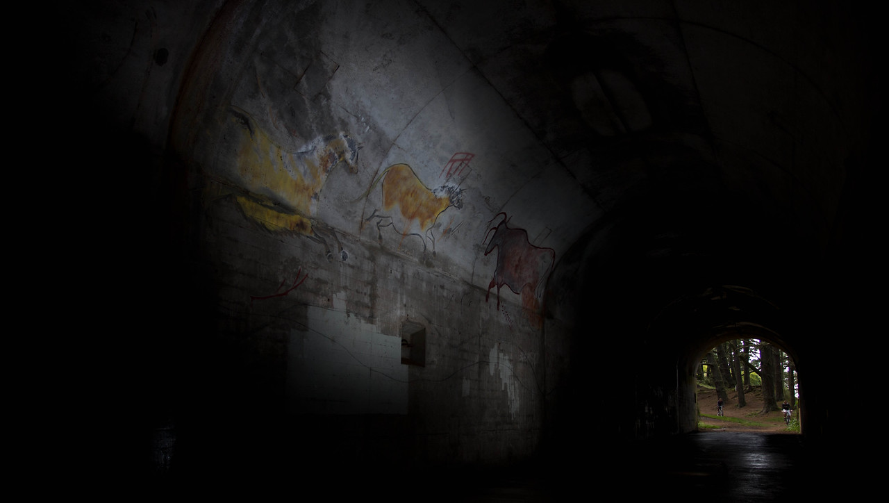 Modern Cave Man Paintings.. in a military battery supply tunnel ... cave is cave I guess.