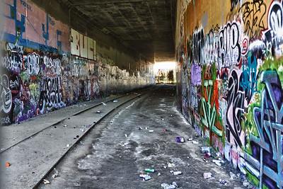 Grafitti gallery. Abandoned tracks and tunnel under 10 Freeway near Overland Ave. in West LA.