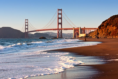 Golden Gate Bridge sunset from Baker Beach, San Francisco