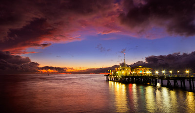 """Clearing Star"" Santa Monica Pier - Clearing storm and evening star"