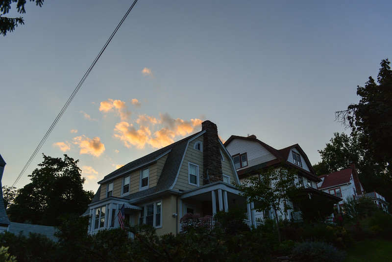 Houses on a Hill at Sunset