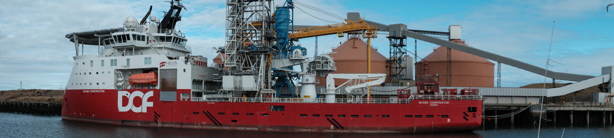 Panorama Shot of a ship in Blyth harbour