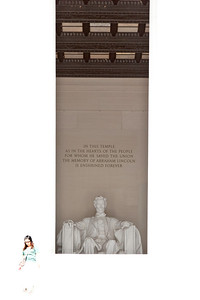 A woman steps into the light left behind by Abraham Lincoln