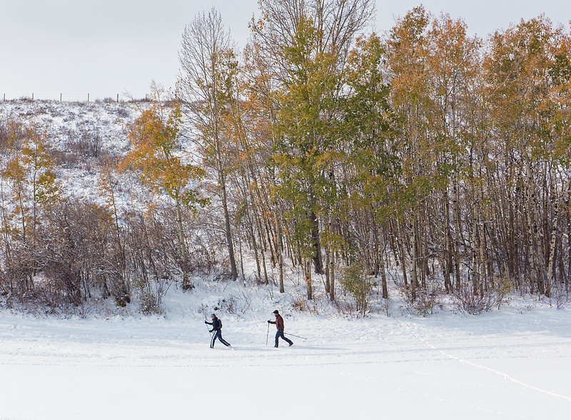 Others are also out, enjoying the good skier tracked conditions in a local green space.