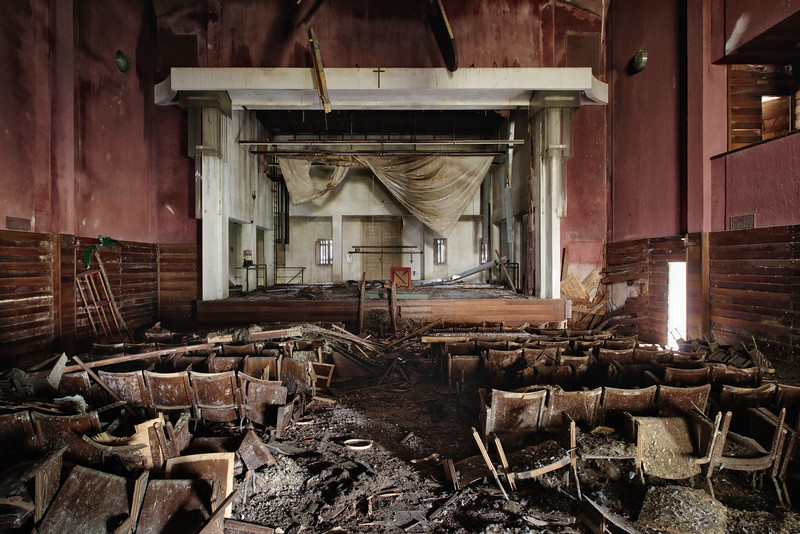 Now the stage is bare - Rotting abandoned theater