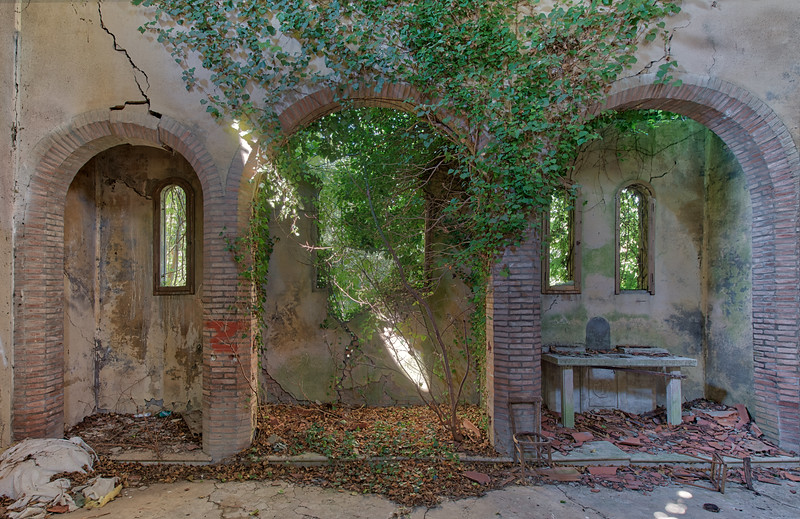 Lightspear - Abandoned chapel being reclaimed by nature. The walls are completely cracked and it's just a matter of time before it will collapse.