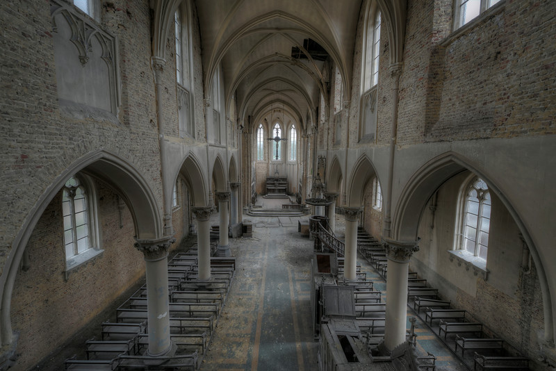 Blue Christ - These are my kind of locations. Amazing architecture forgotten and abandoned. Only pigeons are the current users of this old church.