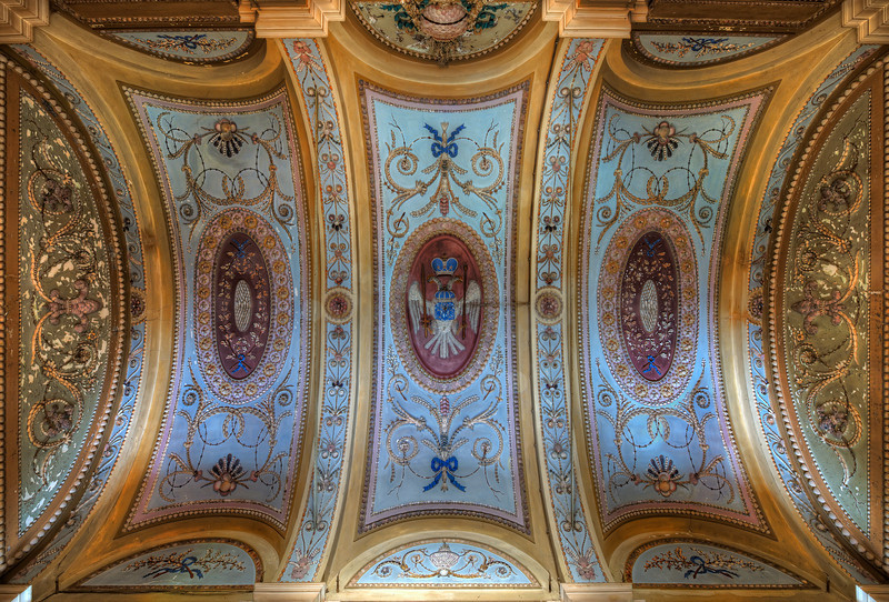 Topaz Gold - Royal decorated ceiling inside an abandoned villa
