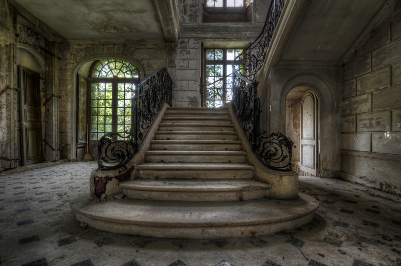 Decadence in Decay - Ornament stairs in an abandoned castle
