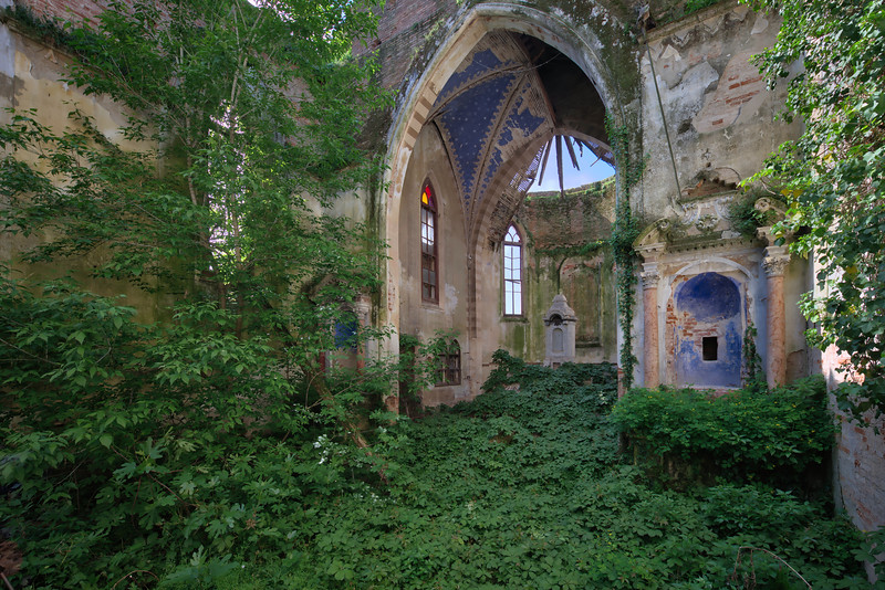 Green River - A green river of weed flows through this old derelict church.