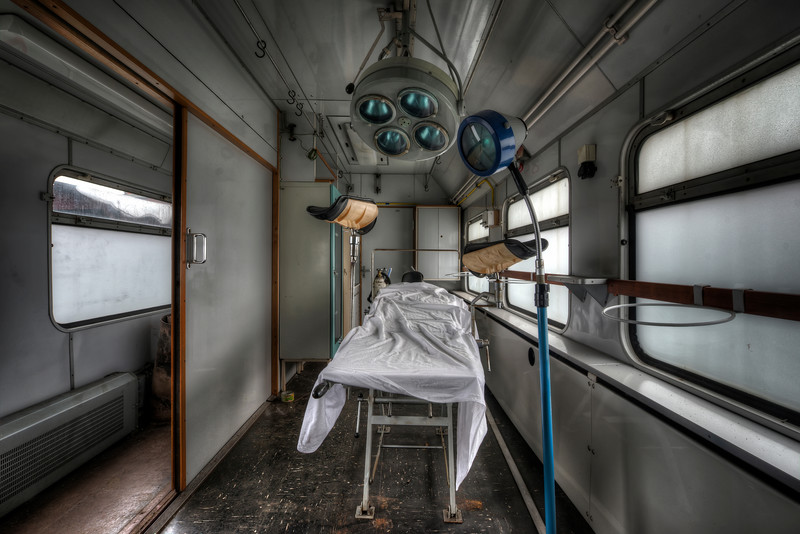 Train Surgery - Never seen anything like this before. A complete hospital within an abandoned train, complete with a surgery. Totally unreal.