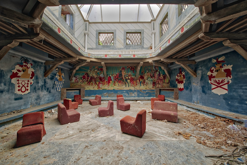 a Knights Tale - This must have been an amazing place once. An abandoned disco in a knight setting situated in a big castle.