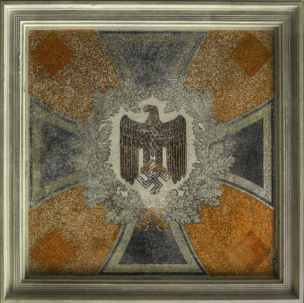 Mosaic - Mosaic swastika ceiling inside old german barracks. The barracks were used for several war movies.
