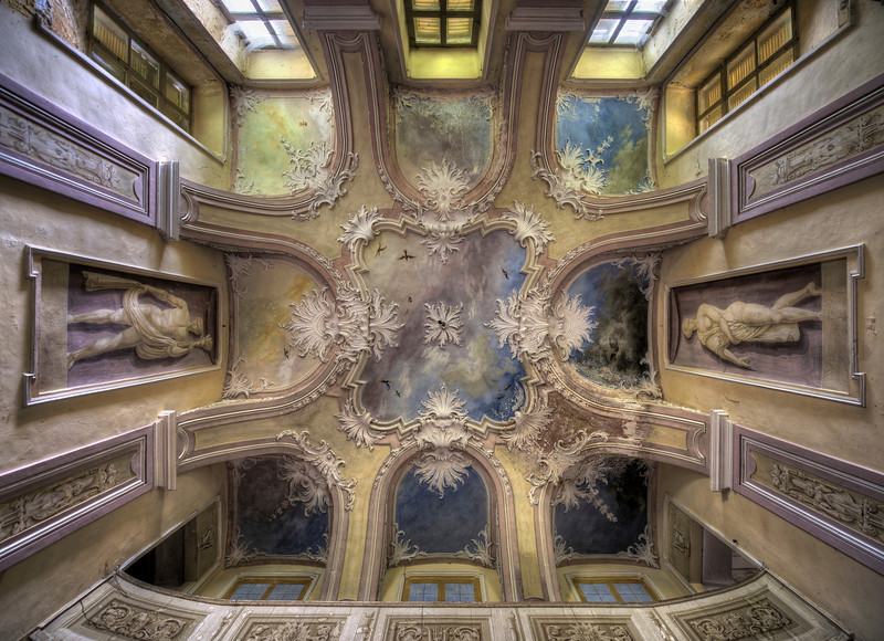 Blue Skies - Amazing paint job on the ceiling of this abandoned villa