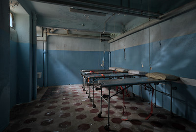 Blue Morgue - While this isn't an actual morgue. Stumbling upon a room like this in the dark basement of an abandoned hospital sure gave me the creeps.