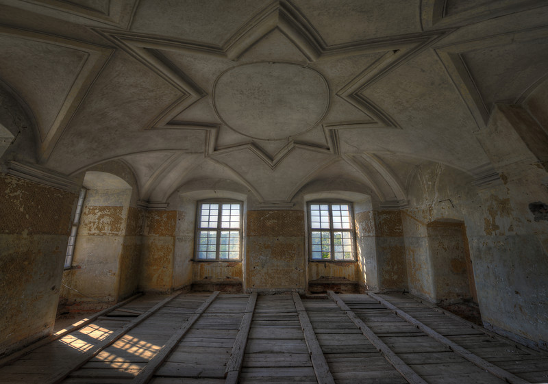 The Star Room - Amazing ceiling work in this massive abandoned place.