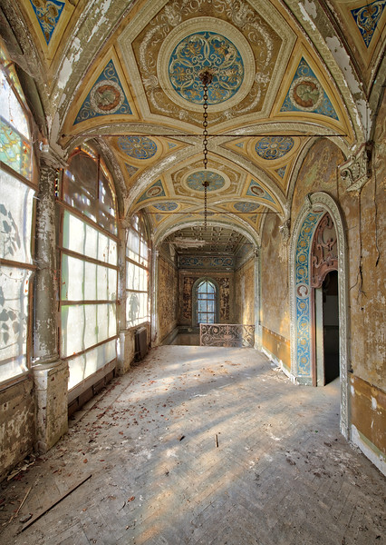 The Golden Mile - Corridor and staircase in a derelict villa.