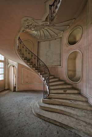 The Pink Stairs - Baroque style deocrated staircase in an abandoned villa