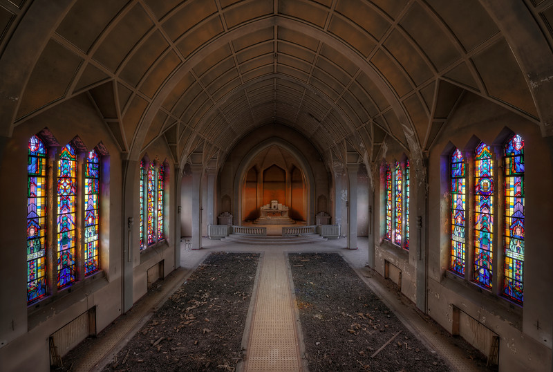 Illumination - This is the second location I visited that was completely destroyed but the chapel has been left in pretty decent shape. They beautiful stained glass windows have been spared while the rest of the place has been vandalized beyond repairs.