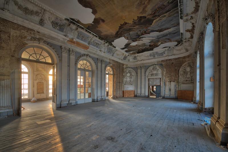 Ballroom Blitz - Warm morning light enter this ornate old castle ballroom