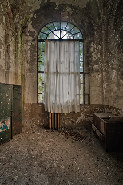 Final Curtain - One of many cool windows in a former mental asylum. I love the green from the inner courtyard creeping all the way up to the first floor and almost knocking on the window.