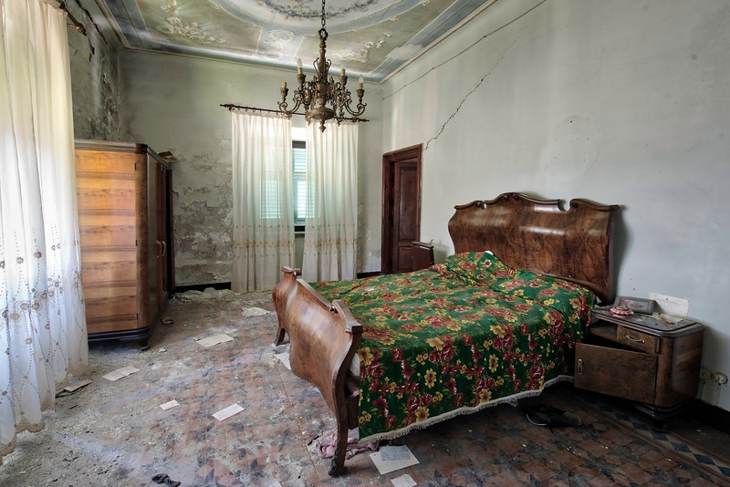 70s Bed Time - Bedroom of an abandoned villa with a hell of a view. Situated on top of a mountain this villa has 2 massive balconies which look down over the town below.