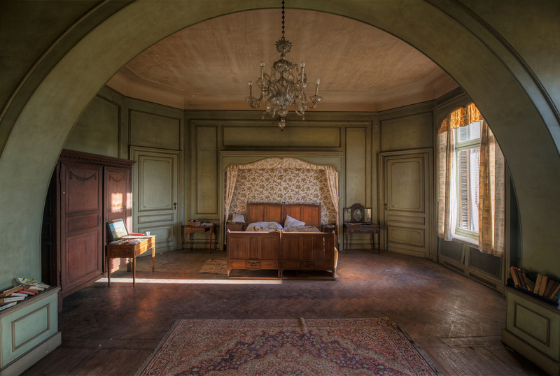 Under the Dome - Probably the master bedroom inside this abandoned chateau. But since there are 9 bedrooms inside it's a bit of a guess.