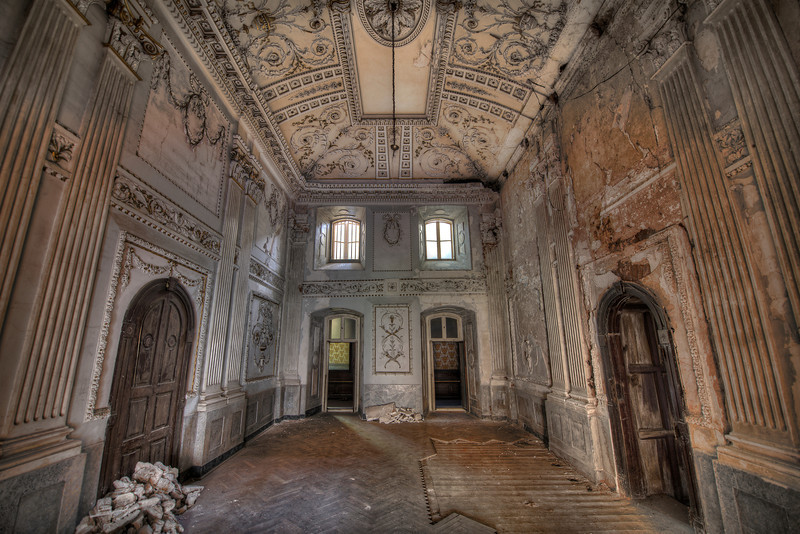 Abandoned castle slowly decaying and falling apart