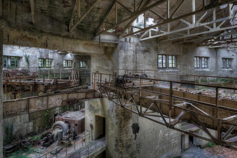 Crane - Shot inside a former hydro powerplant