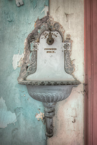 Aqua - Old fountain in the hallway of an abandoned hotel