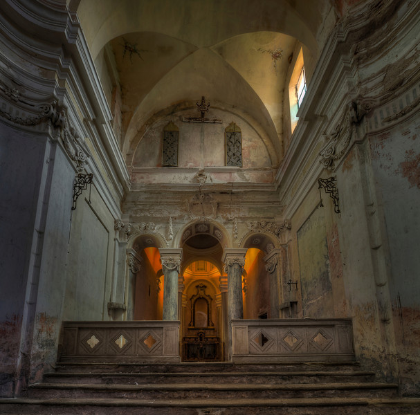 Amber - Abandoned church with natural amber light coming in. As of 2014 renovation has started.