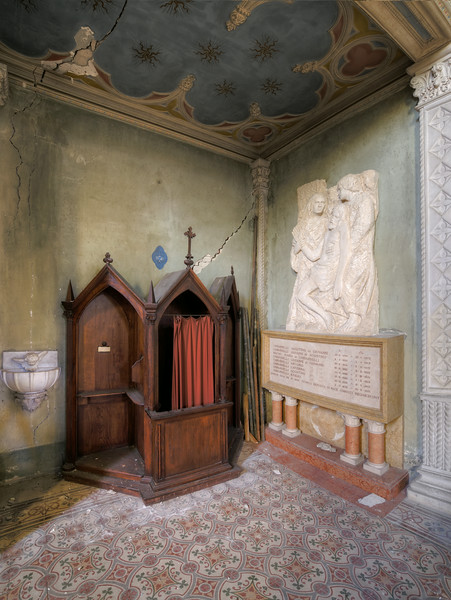 Confession - Old confessional in a forgotten monastery chapel
