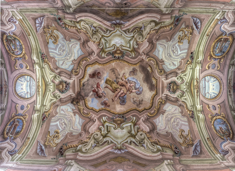 Pink - Another amazing painted ceiling in an abandoned villa