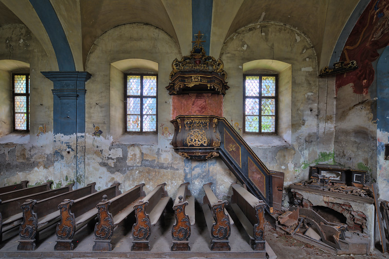 Pulpit - Abandoned church with great natural decay, untouched by graffiti taggers.